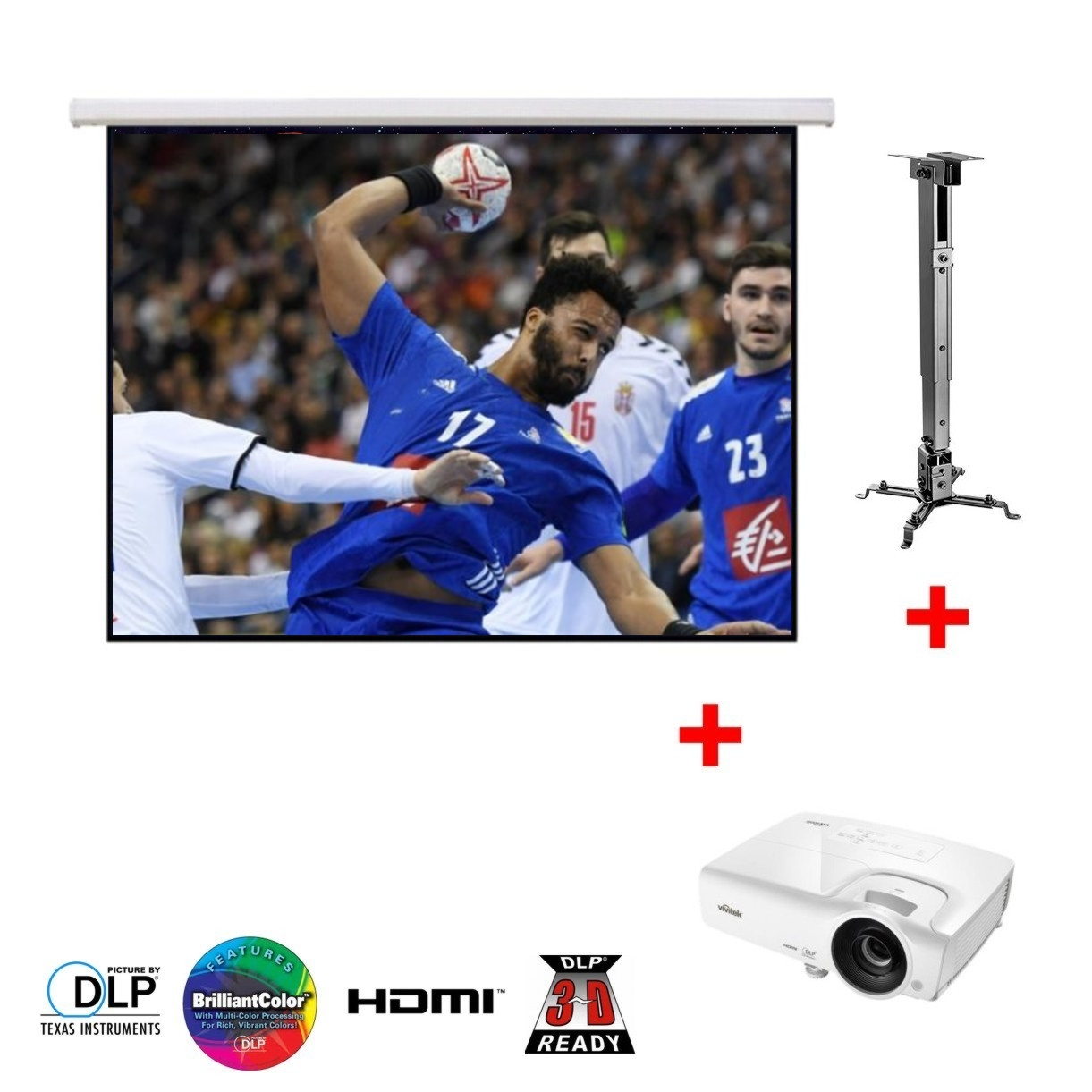 PACK VIDEO PROJECTION 1 x ECRAN MPS108C + 1 x DW265 + 1 SUPPORT PLAFOND