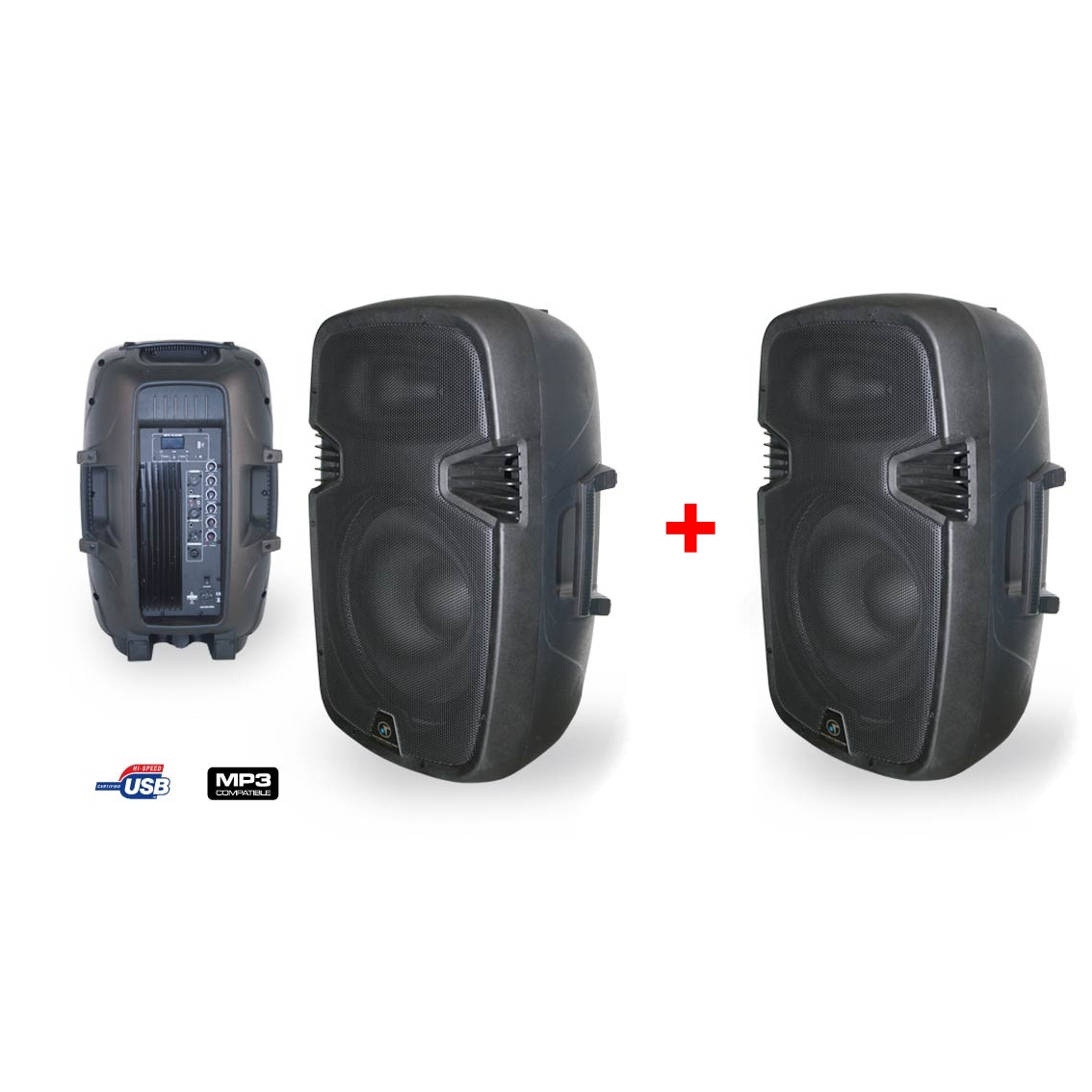 PACK ENCEINTE MOULEE AMPLIFIEE MP3 38CM + ENCEINTE MOULEE PASSIVE 38CM